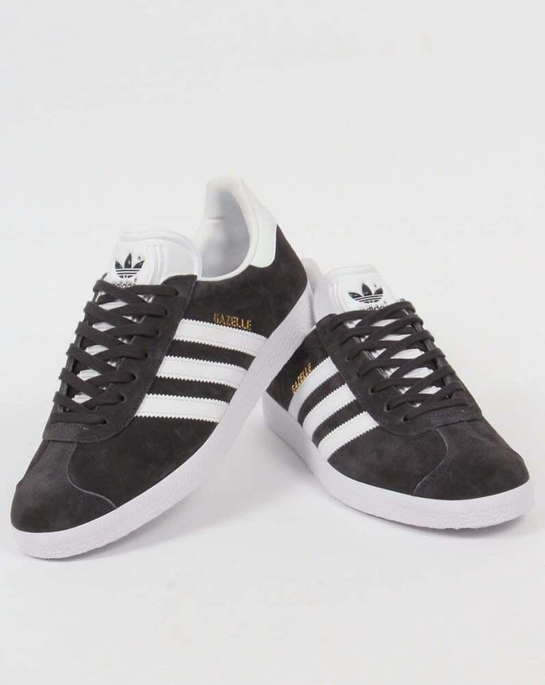Adidas Gazelle Baskets en Gris Foncé & BLANC EN DAIM-