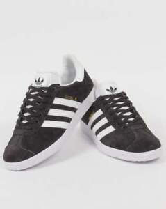 another chance d400e 26cfa Image is loading adidas-Gazelle-Trainers-in-Dark-Grey-amp-White-