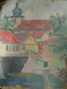 Bischleben-Ansicht-mit-St-Benignus-Kirche-034-Ol-Lwd-unsign-Restaurationsobjekt