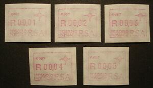 RSA 1988: 5 ATM/Labels Frama, distributori automatici-N. p.007, MN 6.2, posta FRESCHI MNH