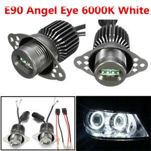 Paire-80-W-DEL-Angel-Eye-Halo-Anneau-Phare-Marqueur-Ampoules-pour-BMW-E90-E91-Lci-09-11