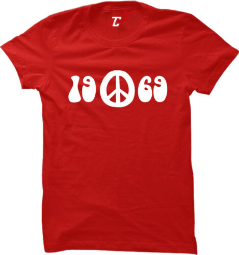 1969 Peace Love Music Festival Hippie Peace Women/'s T-Shirt