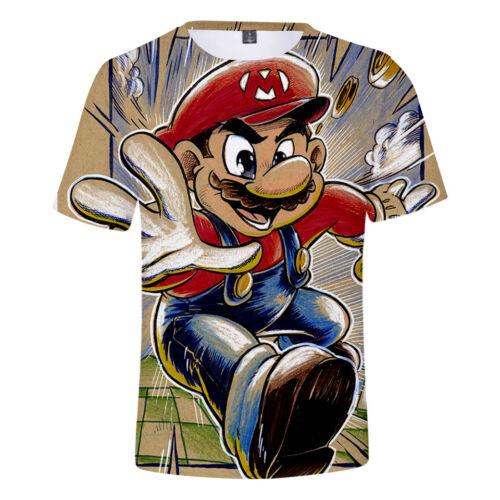New Fashion Womens//Mens Cartoon Super Mario 3D Print Casual T-Shirt Y171