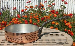 Crate Barrel Copper 9 1 2 Saute Pan W Tin Lining 54 Mm Made In France Ebay