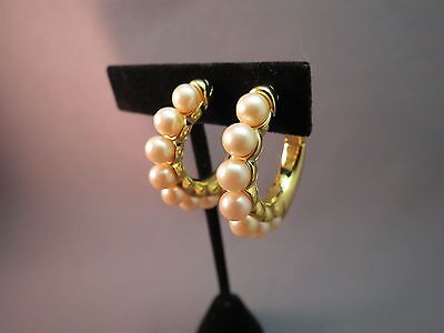 """Monet Hoop Earrings Comfort Luxury Clip Gold Plated Faux Pearls GORGEOUS 1.25"""""""