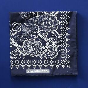 a110c353ef086 NEW Peter Millar Silk & Linen Indigo Floral Print Handkerchief ...