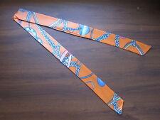Orange Silk Twilly~Silk Handbag Tie~Silk Scarf~100% Silk Tie~Blue Heart Chains