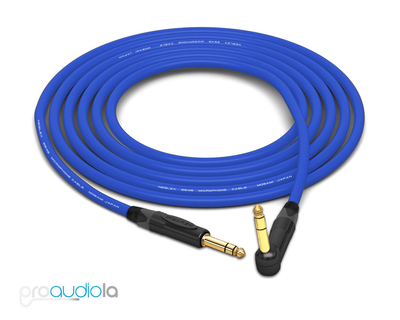 Mogami 2549 Cable   Neutrik 90 90 90 o TRS 1 4  oro TRS   Azul 30 pies   30 ft.  Venta barata