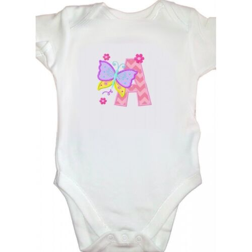 Personalised Embroidered Butterfly Initial Girly Bodysuit Change colours