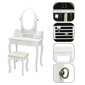 Details About Vanity Makeup Dressing Table Mirror With Jewelry Cabinet Stool Wood Drawers Us