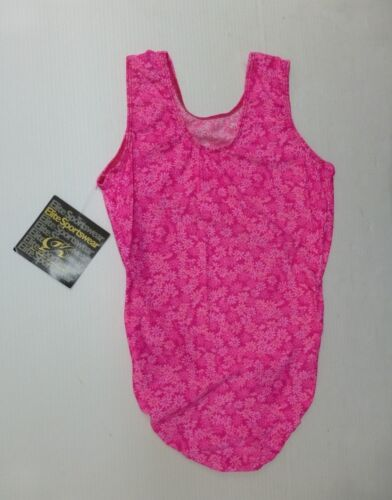 GK Elite Sportswear Girls Size Junior L Pink Floral Leotard New With Tags