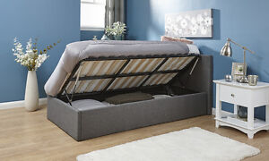 Side Lift Ottoman Bed Silver Grey 3ft Single Fabric Lift