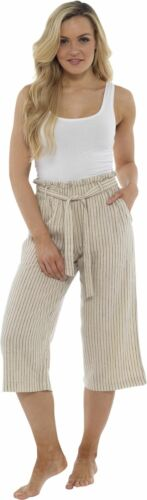 Size 10-20 Ladies Paperbag Tie Waist 3//4 Linen Trousers Cropped Summer Pants