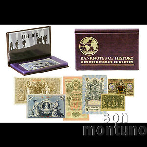 THE-SHOT-HEARD-AROUND-THE-WORLD-1st-War-6-Banknote-Collection-WWI-RUSSIA-GERMANY
