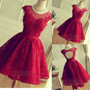 2d76f1b7e63 Lace Short Mini Homecoming Cocktail Dress Party Bridesmaid Prom ...