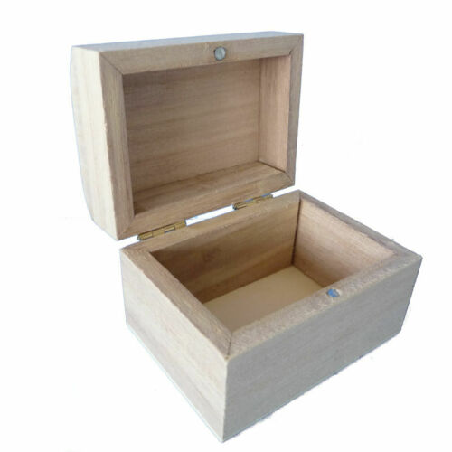 Kids Crafts Natural Wood For Painting Wooden Treasure Chest 8 x 6 x 4.5 cm