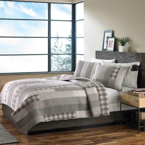 Reversible 100/% Cotton Grey Quilt Patchwork Plaid Coverlet King Queen 3 pcs Set