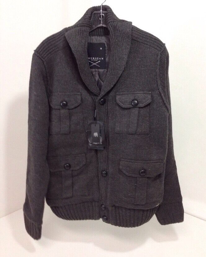 AMERICAN STITCH  Herren QUILTED LINING KNIT CARDIGAN SWEATER DARK grau MED NWT 185