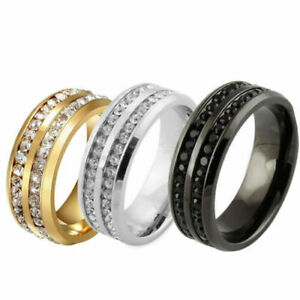 Men-Women-Fashion-Crystal-Stainless-Steel-Ring-Band-Gold-Silver-Black-Size-6-13