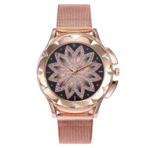 ASAMO-modische-Damen-Armbanduhr-mit-Strass-Steinen-und-Metall-Armband-Uhr