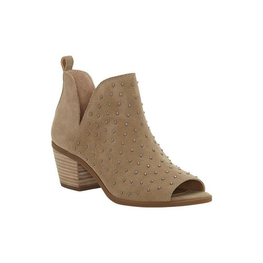 Lucky Brand-barlenna-Zapatos Bota Puntera Abierta-Beige Cuero De Gamuza-tamaño 7.5