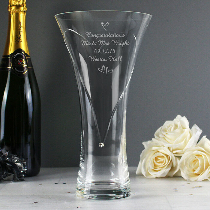 Personalised Hearts Glass Vase with Swarovski Elements - Wedding  Anniversary