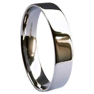 Heavy /& Extra Heavy Wedding Band Ring 5mm 9ct White Gold Flat Court UK HM Med