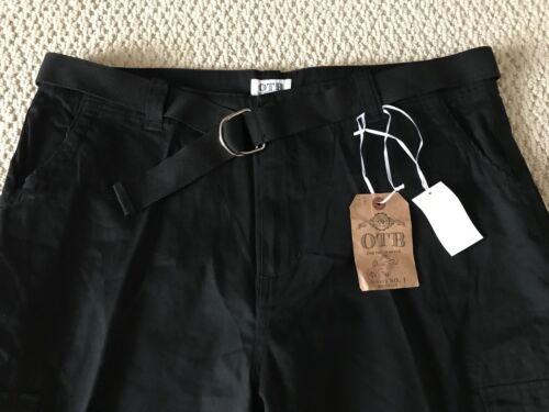 NWT Men/'s OTB Solid Black Cotton Cargo Pocket Shorts w// Belt ALL SIZES 36-40