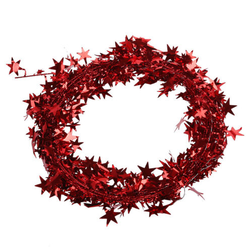 23 Feet Glittering Red-Star Shaped Tinsel Wire Garland Christmas Decoration A X7