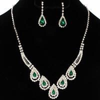 Formal Wedding Evening Party Emerald Green Crystal Teardrop Costume Necklace Set