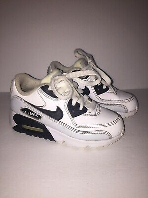 Nike Air Max 90 LTR Run White Black Platinum White GS 833412-104 Sz 10/5 C