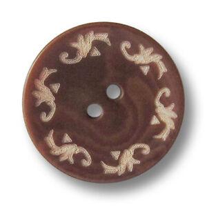 mittelbraun gefärbte Steinnussknöpfe mit Trachtenmuster 5 wunderschöne 3565br