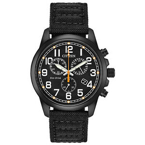 Citizen-Eco-Drive-Men-039-s-Chronograph-Date-Display-Black-39mm-Watch-AT0205-01E