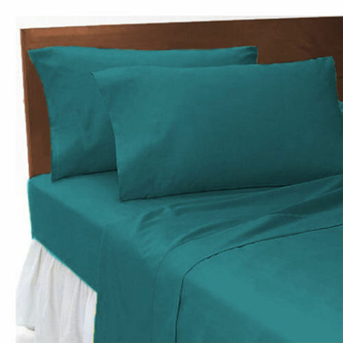 Teal Plain Dyed Polycoton Soft Flat Bed Sheet With Free Pair Of Pillow Cases New