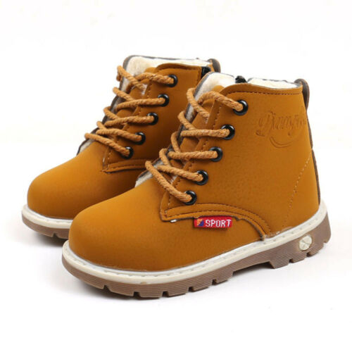Cool Fashion Kids Boys Girls Martin Sneaker Boots PU Rubber Keep Warm Shoes