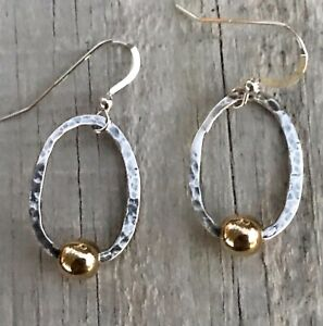 Handcrafted-Hammered-Sterling-Silver-Brass-Nugget-Earrings-w-Silpada-Findings