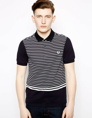 Small /& Medium Black Fred Perry Striped Polo Shirt
