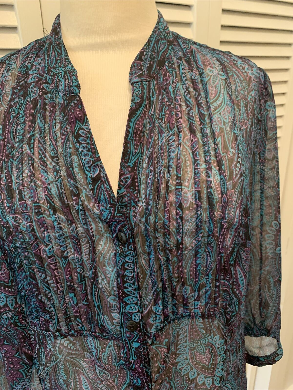 Christopher and banks women's blue paisley blouse… - image 3