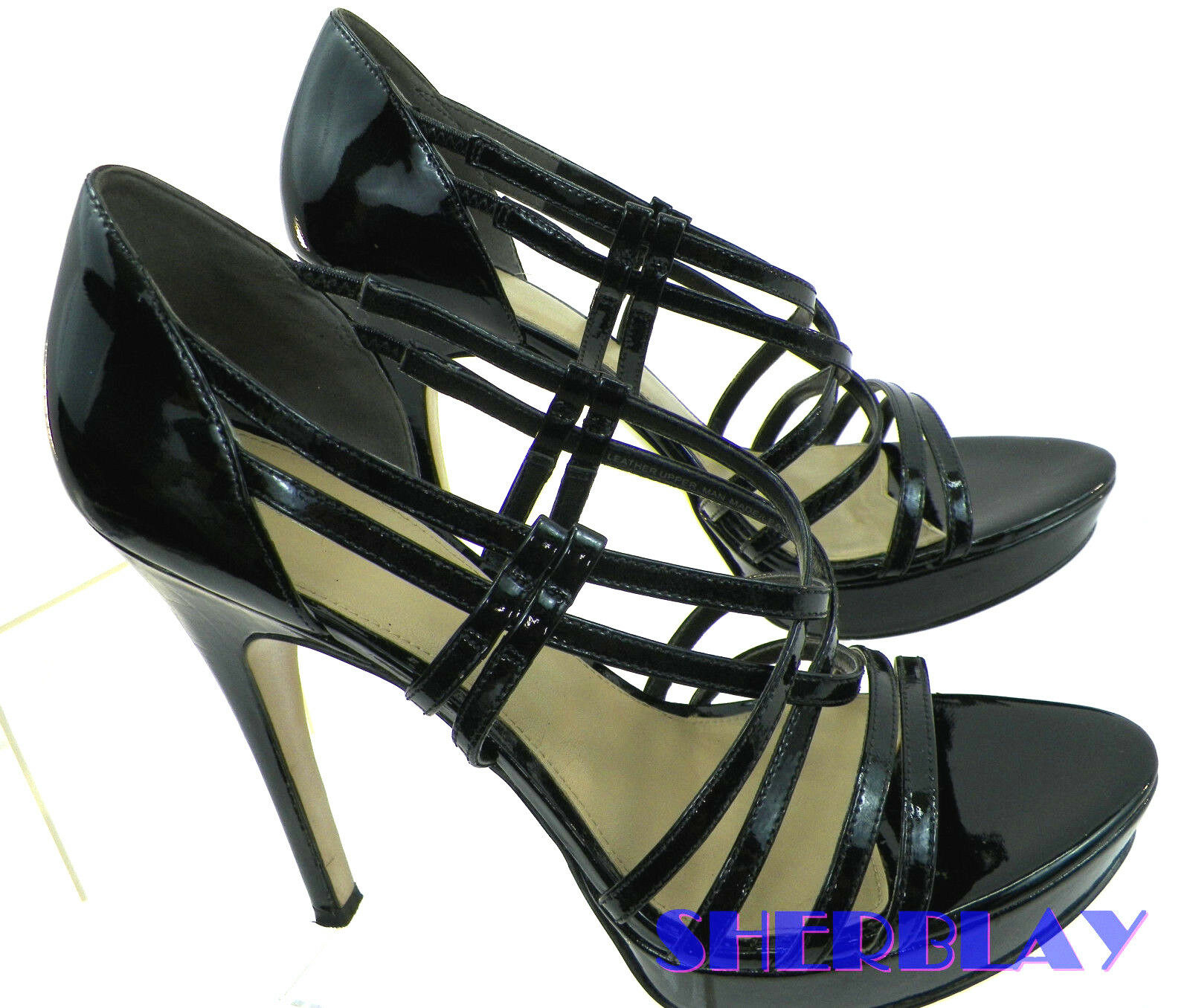 Via Spiga Leather Platform Sandal Pump Strappy Stiletto Heels Black Size 9 M