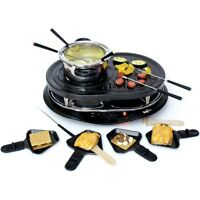 8 Person Raclette Party Grill W/ Fondue Set, Electric Countertop Indoor Griller