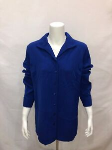Linea-by-Louis-Dell-039-Olio-Women-039-s-Wing-Collar-Long-Woven-Tunic-Blue-Size-14