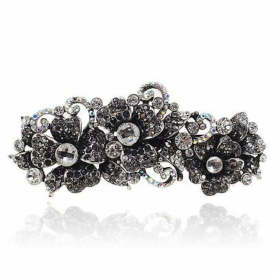 Clear Rhinestone Flower Butterfly Barrette Silver Tone Hair Clip Party Gift