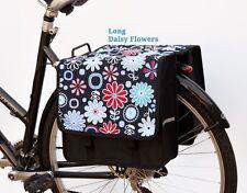 Bicycle Double Pannier Bag Water Resistant Rear Design Black Flowers Ladies New