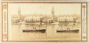 Italia Venezia Campanile San Giorgio Foto G.Sommer, Stereo Albumina Ca 1865