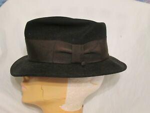 1fcaca060ff Image is loading Original-Vintage-Black-Felt-Fedora-Hat-Brown-Band-