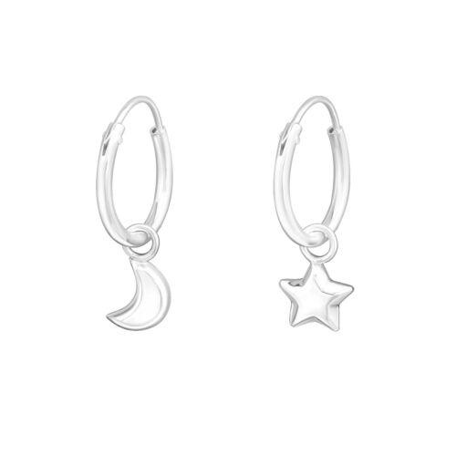 925 Sterling Silver Hanging Crescent Moon and Star Sleeper Hoop Earrings  12mm