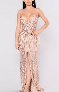 41ca36a2 Fashion Nova Long Rose Gold Sequin Dress / Prom , Special Occasion ...
