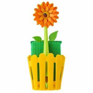 Vigar-Flower-Power-Spuelset-mit-Koerbchen-orange-Spuelbuerste-Blume-Schwamm-Neu