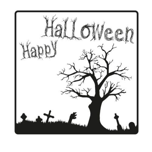 50x50 mm Halloween Holzstempel von stempel-fabrik Friedhof