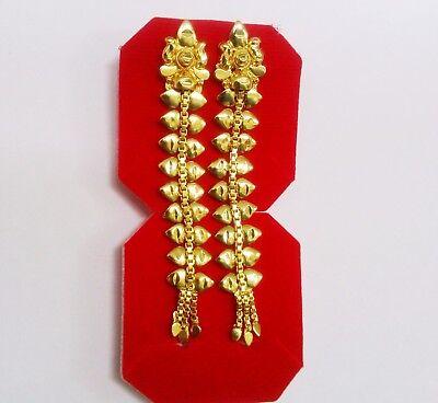 South Indian Wedding Jewelry 18k Gold Plated Jhumka Jhumki Pretty Long Earrings Ebay